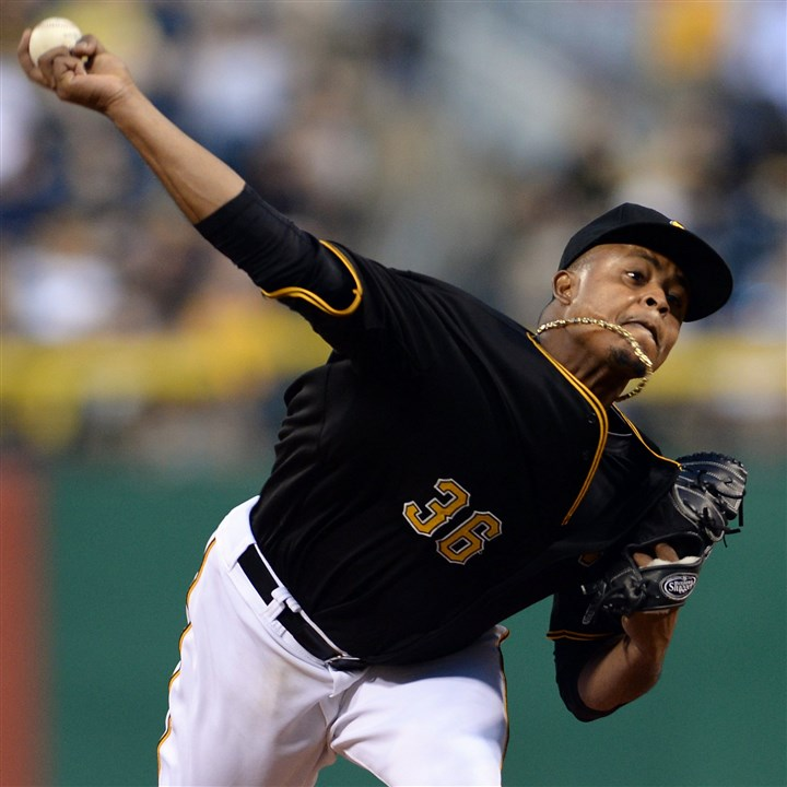 20140812mfbucssports03-1 Pirates' Edinson Volquez pitches against the Tigers at PNC Park.