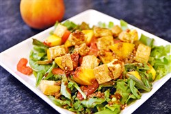 Tomato-Peach Salad with Crispy Tofu.