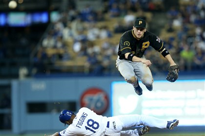 494535653 Pirates shortstop Clint Barmes throws to first to complete a double play to end the seventh inning after forcing out Chone Figgins May 29, 2014 in Los Angeles, California.