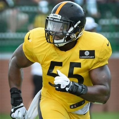 20140813pdSteelersSports09-8.jpg Linebacker Arthur Moats makes his way up the field during Wednesday workouts in Latrobe.