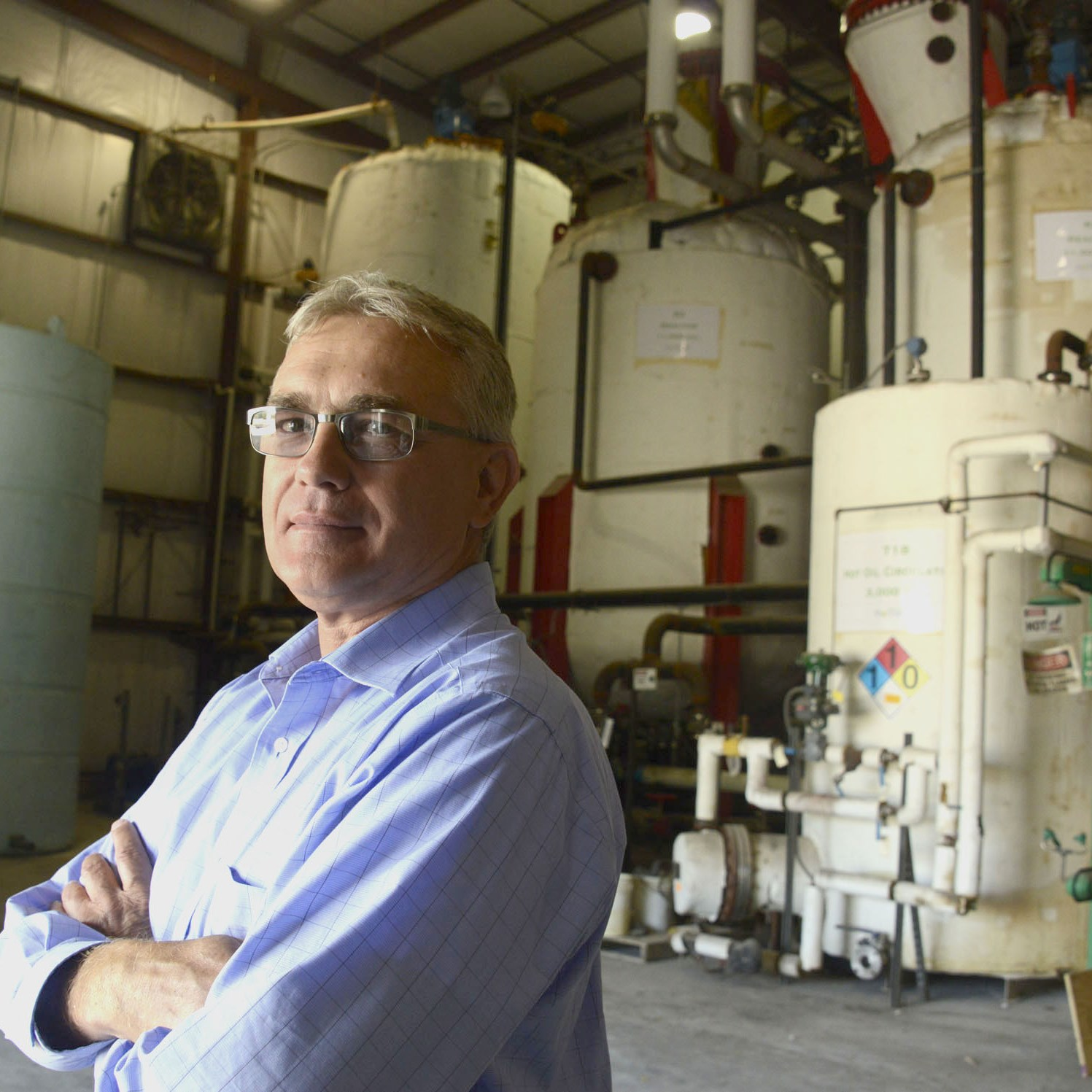 Ed Vescovi in the processing plant where biodiesel will be made by the Weavertown Enviromental Group in Beaver County.