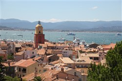 St. Tropez's iconic clock tower and port as seen from the Citadel.