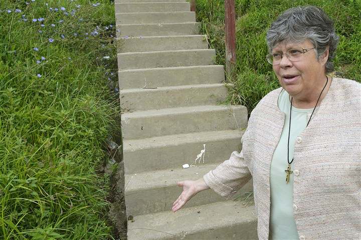 20140806lrcenturytownhomesb.2e-3 Sister Mary Parks, secretary of the Century Townhomes Association, describes how the development's landlord, David Geisler, has failed to fill in open areas alongside steps which could create a hazard for residents.