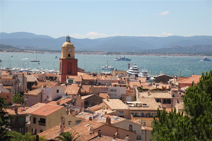 20140815psTropezZMag (3)-2 St. Tropez's iconic clock tower and port as seen from the Citadel.