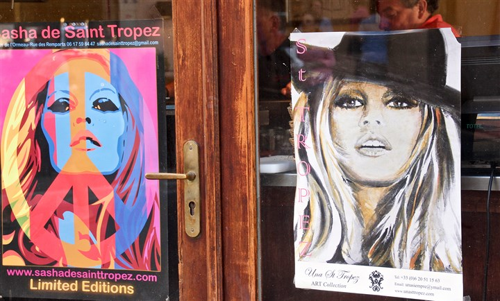 "20140815hdTropezBardotMag Images of Brigitte Bardot are ubiquitous in St. Tropez since she filmed ""And God Created Woman"" in 1956. She still lives in St. Tropez."
