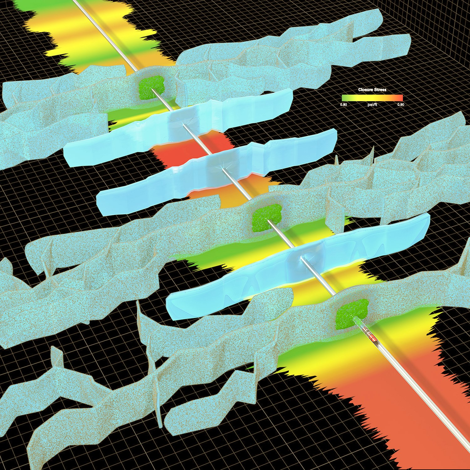 Thi image from energy services company Halliburton shows a shale well in cross section. The shaded blue areas are old fracks, plugged by the company's biodegradable material that seals off existing pathways. That lets pressure build in new areas, creating other pathways for gas to travel to the wellbore.