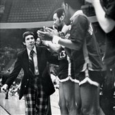 Duquesne basketball coach John Cinicola with his players on March 2, 1978.
