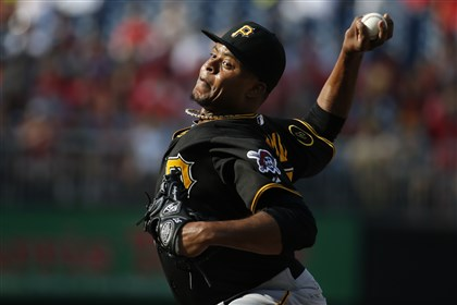 Pirates Nationals Baseball .1 Pirates starting pitcher Edinson Volquez throws during the first inning against the Nationals in Washington.