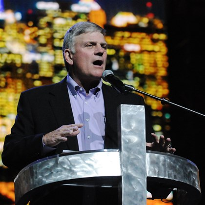 Franklin Graham Three Rivers Festival of Hope Evangelist Franklin Graham, the son of Billy Graham, addresses the audience Saturday at the Three Rivers Festival of Hope at the Consol Energy Center in Downtown Pittsburgh. The three-day event drew large crowds.