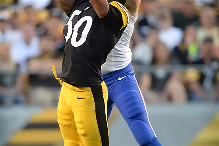 shazier-interception-steelers-preseason-bills Pittsburgh Steelers rookie linebacker Ryan Shazier intercepts a pass in front of Buffalo Bills tight end Scott Chandler in the first quarter at Heinz Field.