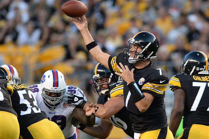 20140816mfsteelerssports05-1 Steelers quarterback Ben Roethlisberger gets a throw off against the Bills in a preseason game earlier this month at Heinz Field.