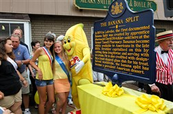 The 2013 Great American Banana Split Celebration in Latrobe. Bobby Banana with some Latrobe beauty queens.