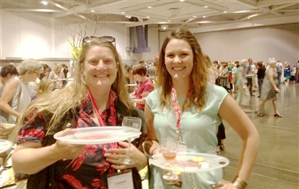 20140818hocheeseEfood Caldwell Linker, left, and Alix Wiggins at the recent American Cheese Society Conference in Sacramento, which they attended on a scholarship from Slow Food Pittsburgh.