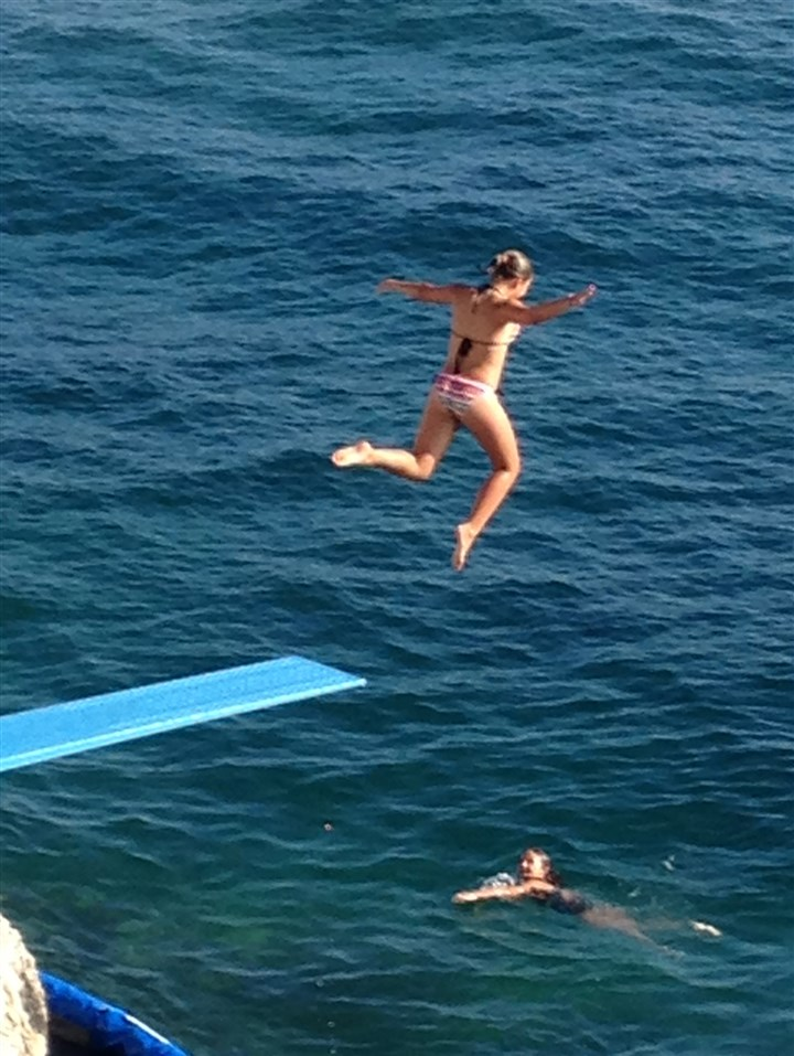 20140818hosttropezLLtravel Jumping into the waters of the Cote d'Azur.
