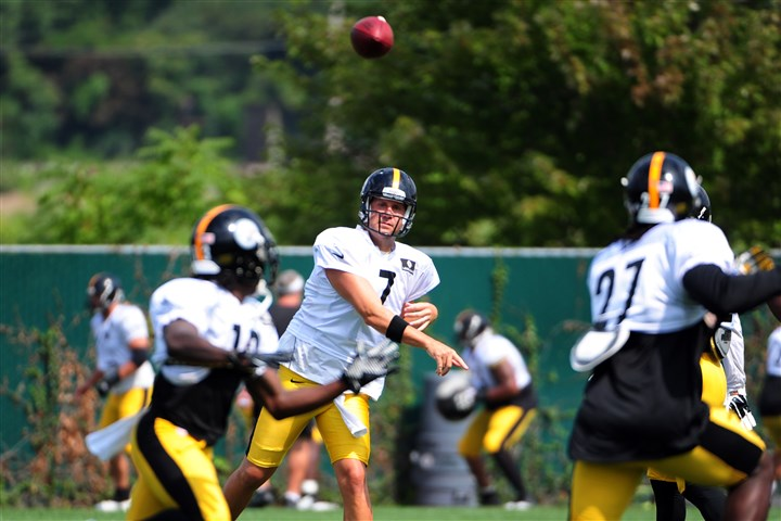 20140818jrBenSteelers5-3 Steelers quarterback Ben Roethlisberger delivers a pass Monday on the South Side.