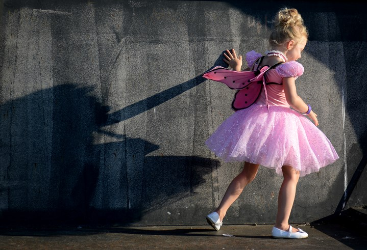 "20140817jrSeen6-5 Siena Weber, 4, dances around Hartwood Acres in her ballerina outfit before the start of Pittsburgh Ballet Theatre's ""Ballet Under the Stars"" event."