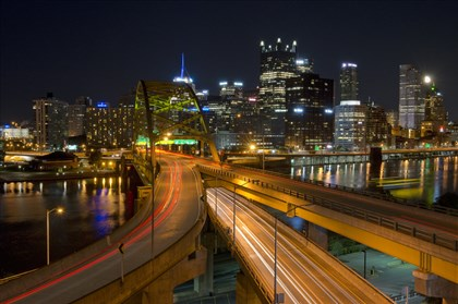 The view of Downtown from the roof of the Fort Pitt Tunnel.