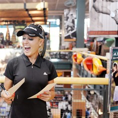 2010mhdicksbiz LPGA golfer Natalie Gulbis signs autographs for fans at Dick's Sporting Goods at the Mall at Robinson. Dick's recently acknowledged a reduced value of trademarks and store assets used in the golf business. The company said it has merged the back office operations of the Dick's golf business and of its Golf Galaxy chain.