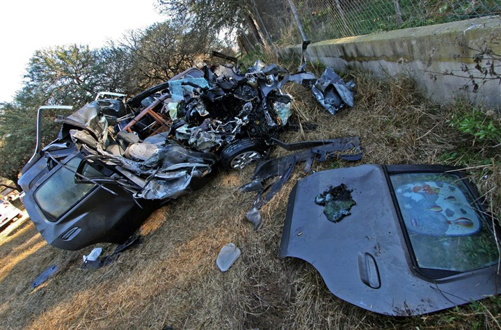 532560477 This is the car that Pope Francis' nephew and his family were traveling in when they crashed into a truck early today near James Craik in the Argentine central province of Cordoba. Two grandnephews of Pope Francis -- aged 8 months and 2 years old -- and their mother were killed.