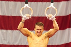 Jonathan Horton trains on the still rings Wednesday at Consol Energy Center.