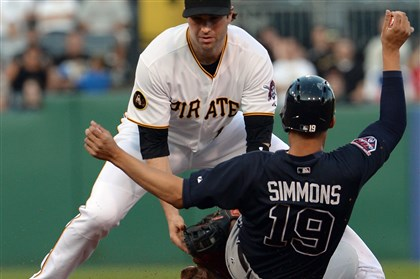 20140819mfbucssports07-1 Braves' Andrelton Simmons steals second base against Pirates' Neil Walker in the second inning at PNC Park.