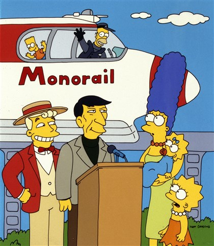 "20140820hoSpringfield0822mag Leonard Nimoy, second from left, guest starred as himself in ""The Simpsons"" episode ""Marge Vs. the Monorail."""