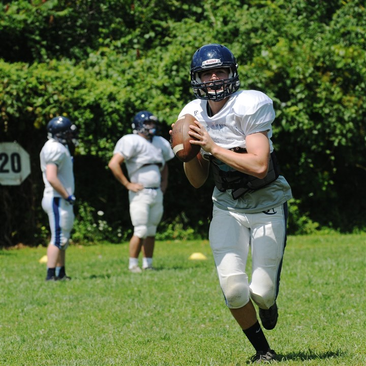 20140814DARBishopCanevinCru.10.jpg Quarterback Reed Relosky is back at the controls of the Bishop Canevin offense this season after passing for more than 1,000 yards last year.