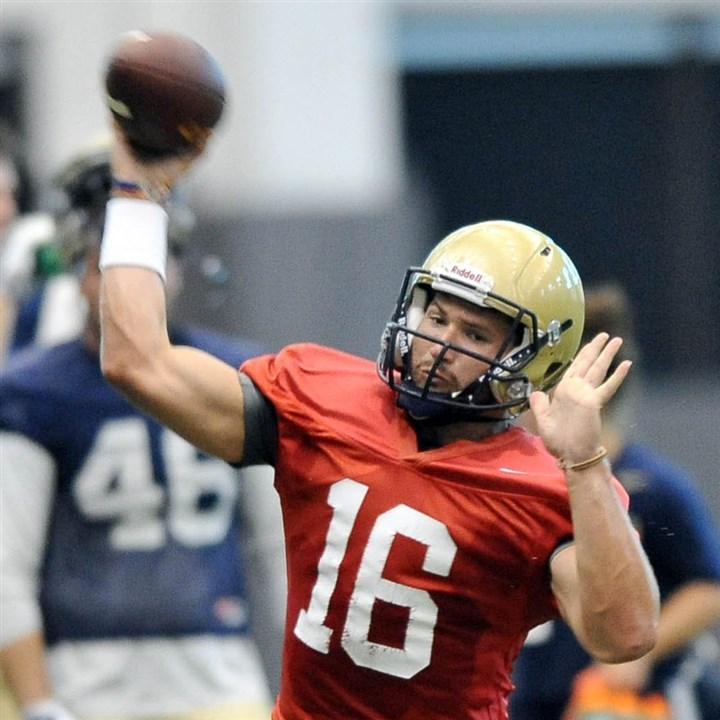 20140820MWHpittfootballSports14-5 Redshirt sophomore Chad Voytik brings versatility to the Pitt offense as a mobile quarterback.