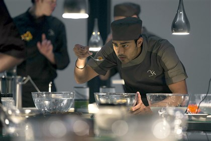 "FOODMOVIES181 Manish Dayal went to culinary school to prepare for role of Hassan Kadam in ""The Hundred-Foot Journey,"" one of a number of recent culinary-based movies."