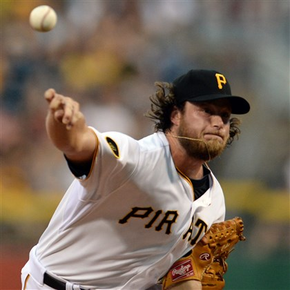 20140820mfbucssports03-2 Gerrit Cole pitches against the Braves at PNC Park Wednesday night, August 20, 2014.
