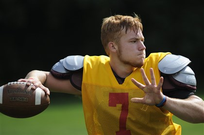 20140806CMNorthCatholicSpor.6.jpg After being injured last season in Week 8, senior quarterback Adam Sharlow hopes to make a triumphant return this season for Cardinal Wuerl North Catholic.