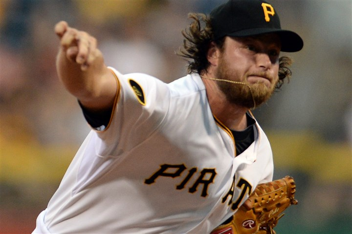 20140820mfbucssports03-2 Pirates' Gerrit Cole pitches against the Braves at PNC Park Wednesday night.