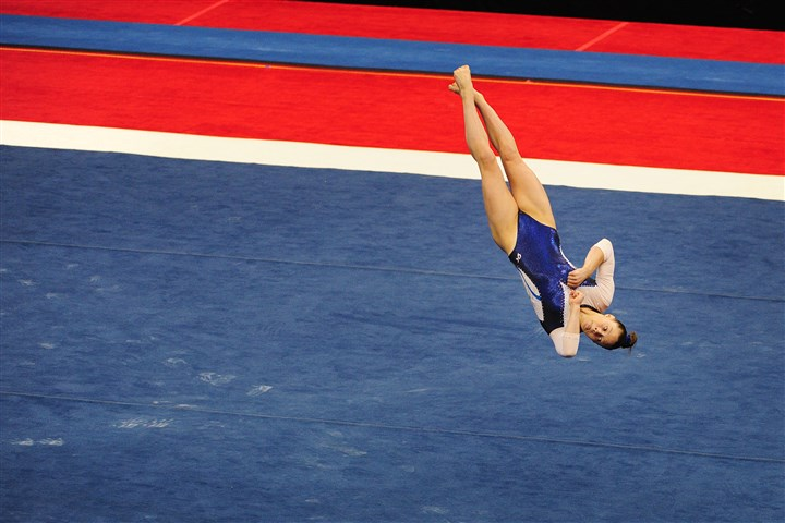 20140821jrSportsGym5-4 Megan Skaggs does her floor routine Thursday during the Junior Women's portion of the 2014 P&G Gymnastic Championships at Consol Energy Center.