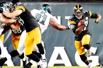 LeGarrette Blount rush Steelers running back LeGarrette Blount picks up yardage against the Eagles in the first half Thursday at Lincoln Financial Field in Philadelphia.