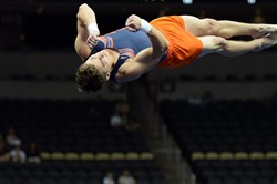 Bobby Baker does his floor routine during the Junior Men's portion of the P&G Gymnastics Championships at Consol Energy Center Friday afternoon.
