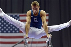 Defending champion Sam Mikulak's shaky parallel bars routine put him in an early rut on Day 1 of the senior men's competition at P&G National Championships at Consol Energy Center.