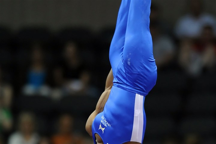 20140822mfgymsports10.jpg John Orozco competes on the high bar during the Senior Men's portion of the P&G Gymnastics Championships at Consol Energy Center Friday night.