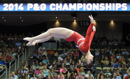 20140823mfgymsports03-2 MyKayla Skinner performs on the high beam in the senior women's portion of the P&G Gymnastics Championships at Consol Energy Center Saturday night.