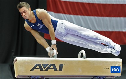 20140824mfgymsports07-6 Sam Mikulak performs on the pommel horse during the senior men's final of the P&G Gymnastics Championships today at Consol Energy Center, Downtown. Mikulak went on to win the national all-around title for a second straight year.