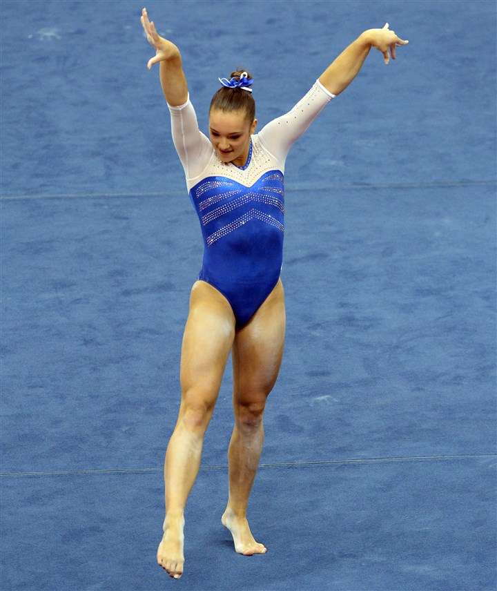 20140823mfgymsports08-1 Matt Freed/Post-Gazette August 23, 2014 Maggie Nichols performs her floor exercise in the senior women's portion of the P&G Gymnastics Championships at Consol Energy Center Saturday night.