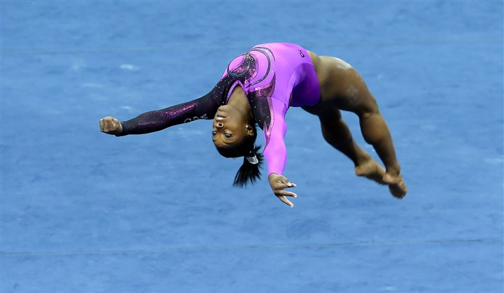 20140823mfgymsports01 Simone Biles performs her floor exercise in the senior women's portion of the P&G Gymnastics Championships at Consol Energy Center Saturday night.