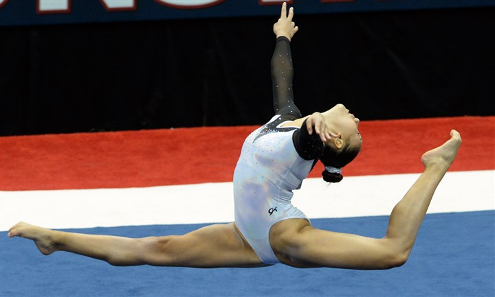 20140823mfgymsports07 Kyla Ross performs her floor exercise in the senior women's portion of the P&G Gymnastics Championships at Consol Energy Center Saturday night.