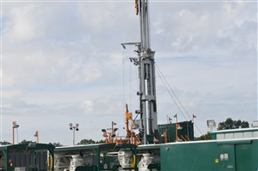 The first well on Consol Energy's Well Pad 2 at the new Marcellus Shale extraction site near Pittsburgh International Airport.