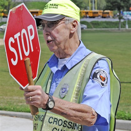 20140904CMSGuardZones001 Milton Deithorn is a crossing guard at Bethel Park High School.