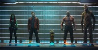 Marvel's Guardians Of The Galaxy stars, from left, Zoe Saldana, Chris Pratt, Rocket Raccoon (voiced by Bradley Cooper), Dave Bautista and Groot (voiced by Vin Diesel).