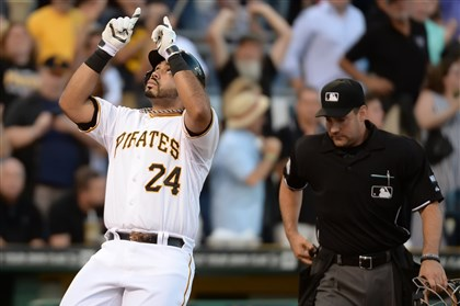 Pedro Alvarez celebrates hitting a solo homer  Pedro Alvarez celebrates hitting a solo homer in the second inning against the Cardinals Monday night at PNC Park.
