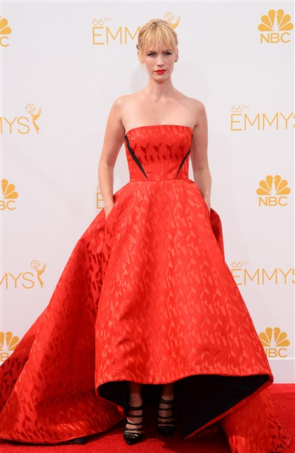 2014 Primetime Emmy Awards - Arrivals January Jones arrives at the 66th Annual Primetime Emmy Awards.