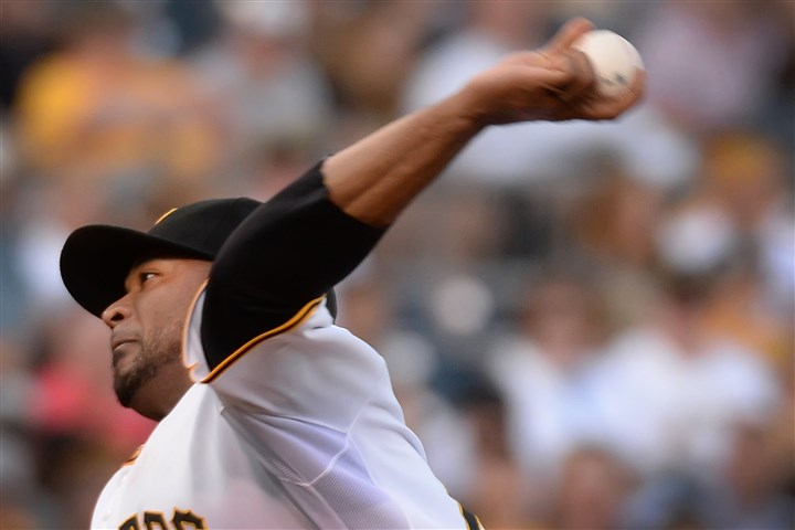liriano0826 Pirates starter Francisco Liriano was taken out Monday night after 91 pitches.