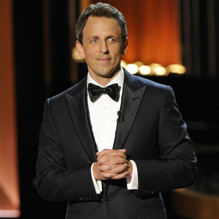 Seth Meyers at Emmys Host Seth Meyers speaks on stage at the 66th Annual Primetime Emmy Awards at the Nokia Theatre in Los Angeles.