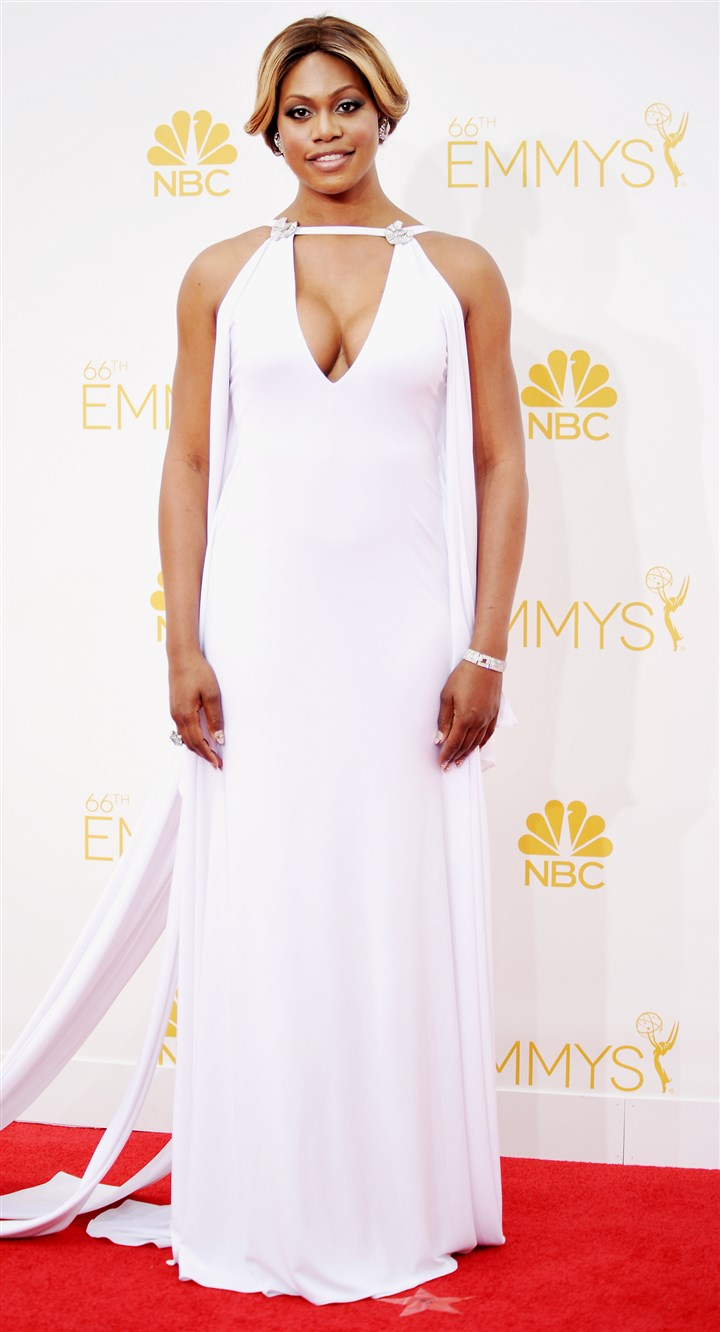 2014 Primetime Emmy Awards - Arrivals Laverne Cox arrives at the 66th Annual Primetime Emmy Awards.
